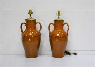 """Pair of French Glazed Pottery Lamps 25 1/2""""H"""