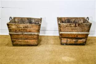 """Pair of French Wooden Grape Gathering Totes 21""""H, 28"""""""