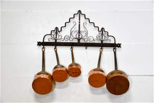 Early French Wrought Iron Pot Rack w/ Copper Pots rack