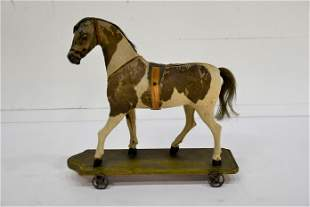 """Early Child's Horse Pull Toy 19""""H, 20"""" x 7"""""""