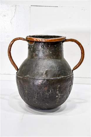 """Early French Copper Pot w/ Handles 17 1/2""""H, 18 1/2"""""""