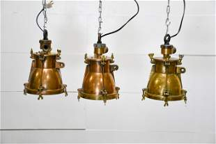 """3pc. Lot of Industrial Hanging Lights 12""""H, 7 1/2"""""""