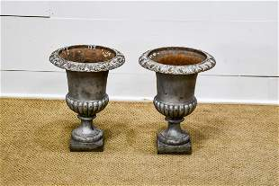 """Pair of French Cast Iron Garden Urns 17 1/2""""H, 13"""