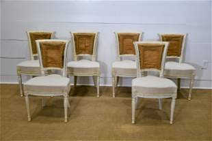 """6 Pc. 19th C. Swedish Deconstructed Dining Chairs 34""""H,"""