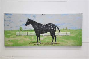 """Folky Horse Painting on Metal 26 1/2"""" x 63"""""""