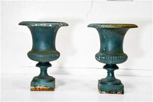 """Pair of French Painted Cast Iron Garden Urns 18""""H,"""