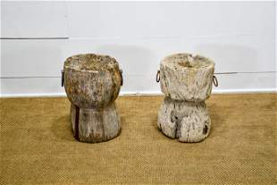 """2pc. Lot of Early Wooden Mortars 18""""H, 14 1/2"""" x"""