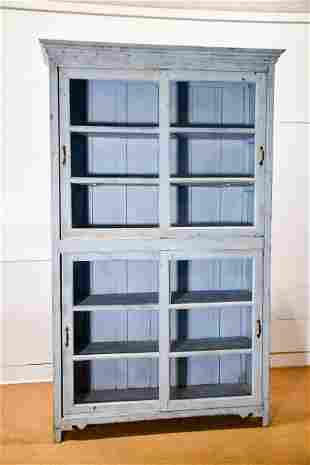 Painted Store Display Cabinet w/ sliding doors /