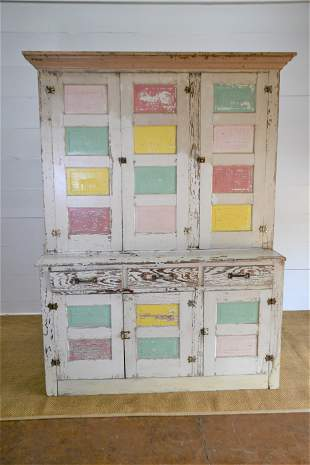 Whimsical Painted Midwestern One Piece Cupboard 89