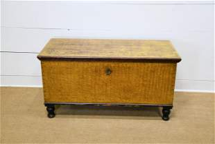 19th C. Pa. Paint Decorated Blanket Chest w/ Key 26