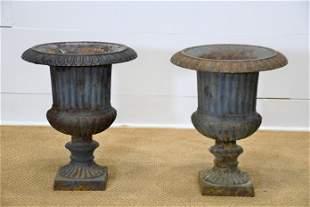 "Pair of French Cast Iron Garden Urns 18""H, 16"" diam."