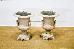 "Pair of Painted Cast Aluminum Garden Urns 24""H, 18"