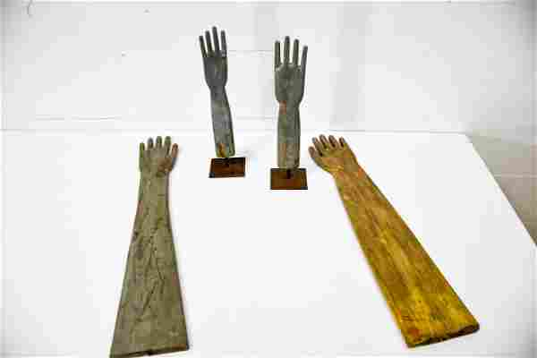 4pc. Lot of Wooden Painted Glove Molds