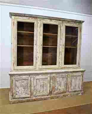 """French 2pc. Painted Store Display Cupboard 96""""H, 94"""""""