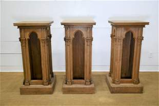 """3pc. Lot of French Gothic Podiums 48""""H, 21"""" x 21"""""""