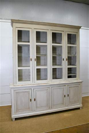 """French Painted 2pc. Store Display Cupboard 104""""H, 87"""""""