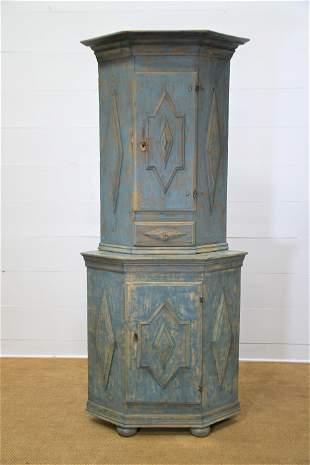 "Swedish Blue Two Piece Corner Cupboard w/ Key 89""H,"