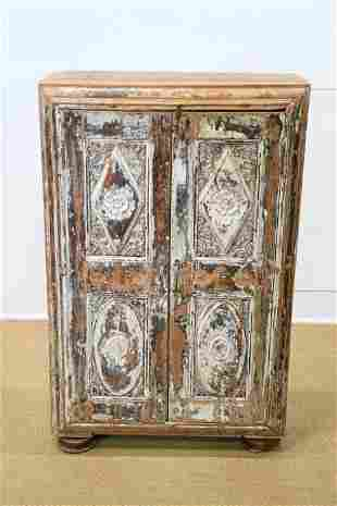"""Painted Carved Wood Two Door Cabinet 45""""H, 29"""" x"""
