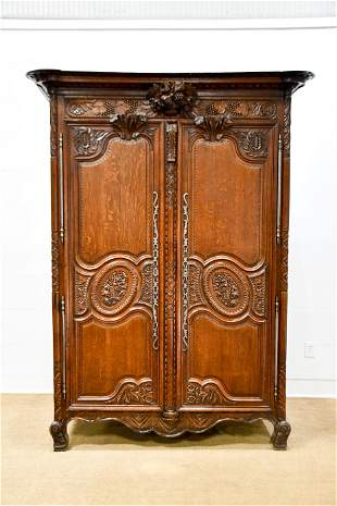 """19th C. French Carved Cupboard 96""""H, 56"""" x 25"""""""