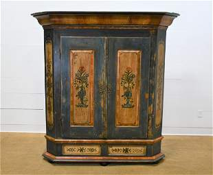 """19th C. Swedish Painted Two Door Cupboard 76""""H, 68"""""""
