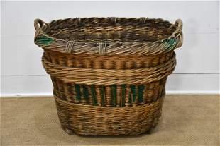 """French Grape Gathering Basket 26""""H, 32"""" x 26"""""""