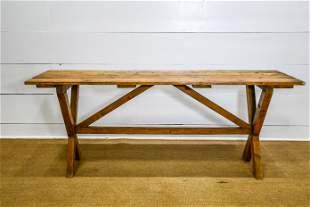 """English Pine Sawbuck Table 29""""H, 73"""" x 21 1/2"""""""