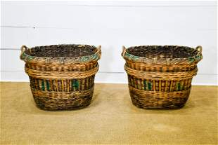 """Pair of French Grape Gathering Baskets 26""""H, 34"""" x"""