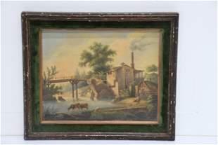 Oil on Panel - Cattle At The Riverside artist -