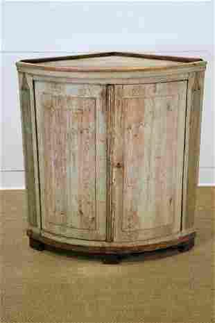 "Swedish Painted Small Corner Cupboard w/ Key 42""H,"