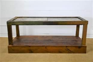 "Industrial Printer's Work Table w/ Marble Top 34""H,"