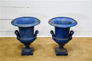 """Pair of French Blue Painted Cast Iron Garden Urns 27""""H,"""
