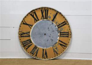 """French Painted Metal Clock Face 46 1/2"""" diam."""