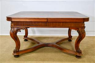 """Carved French Dining Table w/ Extensions 30""""H, 44"""" x"""