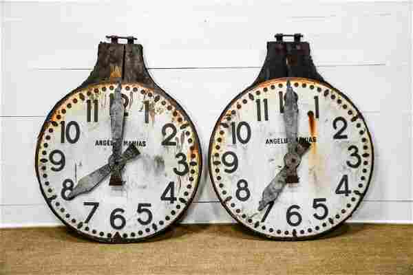 """French Metal Clock Face on Wood X-2 / 49"""""""