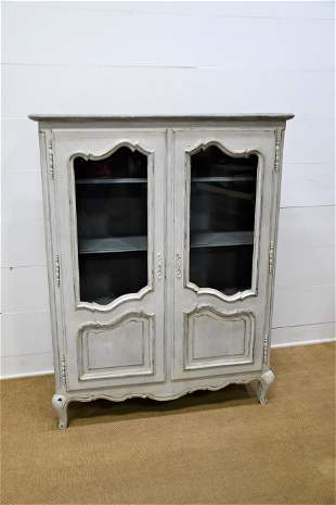 """French Painted Two Door Cupboard 63""""H, 49"""" x 19"""""""