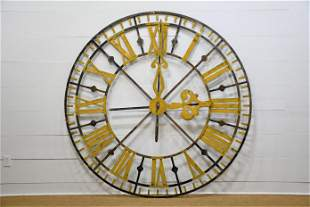 """French Painted Metal Clock Face w/ Hands 85"""" diam."""
