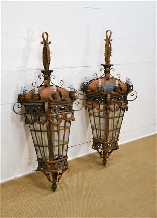"""Pair of French Wrought Iron Hanging Lights 56""""H, 19"""""""