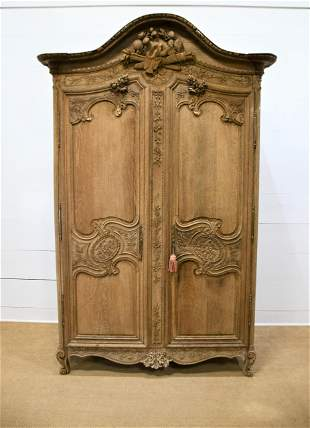 """19th C. French Two Door Armoire w/ Key 100 3/4""""H,"""