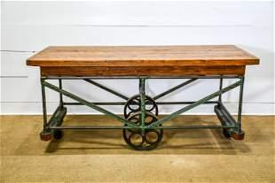 "Wood / Metal Industrial Warehouse Cart 33""H, 73"" x"