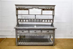 French Painted Kitchen Work Island double sided /
