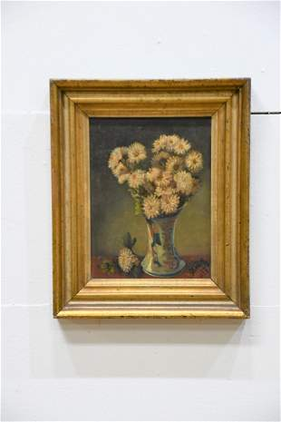 """Oil on Board - Flowers in Vase 14"""" x 11 1/2"""""""