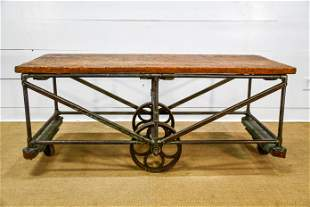 """Industrial Wood and Metal Warehouse Cart 29 1/2""""H,"""