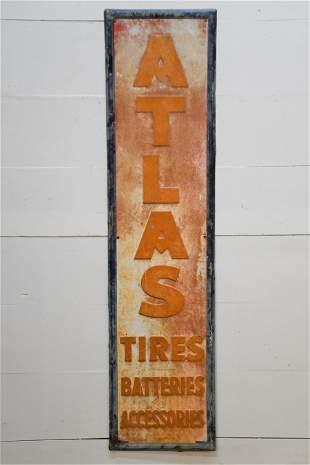 "Atlas Tires / Batteries Sign - metal 71"" x 18"""