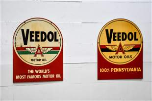 2pc. Lot of Veedol Motor Oils Signs metal, double