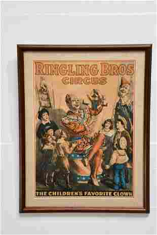 """Ringling Bros Circus Poster """"The Children's Favorite"""