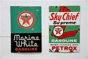 2pc. Lot of Texaco Pump Plates - porcelain Sky Chief