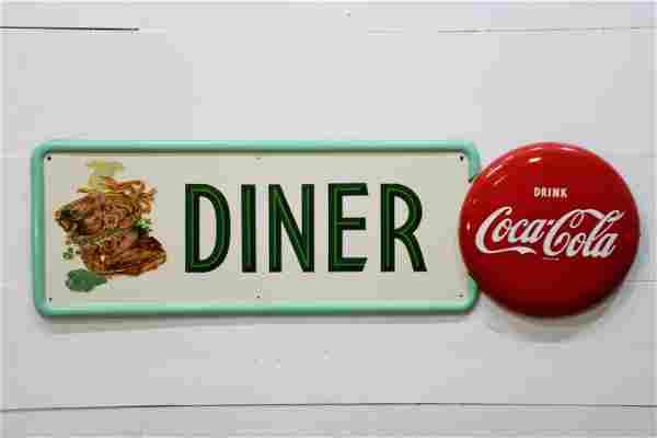 """Coca - Cola Diner Sign - metal 16"""" x 54"""""""