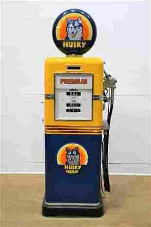 Restored Bowser Pump Advertising Husky Gas *lights up