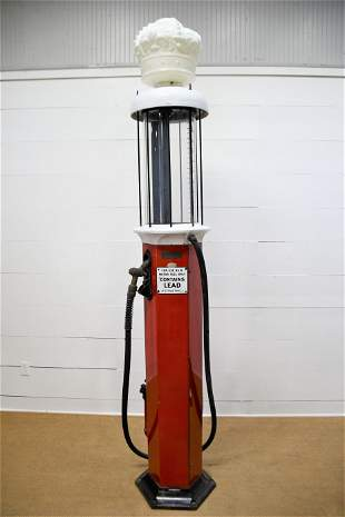 Restored Milwaukee Visible Pump advertising Red Crown