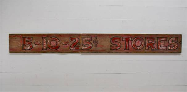 """5 & 10 Stores Sign   -    wood / 2pc. 16""""  x   145 1/2"""""""
